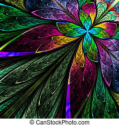 Multicolor fractal flower on black background. Computer...