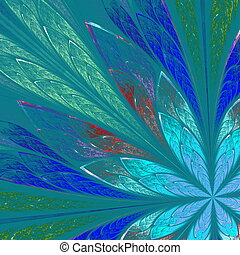 Multicolor fractal flower on blue background. Computer...