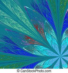 Multicolor fractal flower on blue background. Computer...
