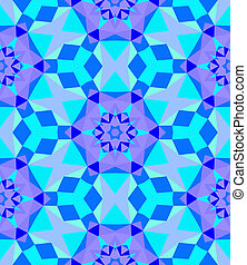 Multicolor geometric pattern in bright blue. Vector seamless...