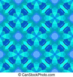 Multicolor geometric pattern in bright blue.