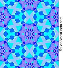 Multicolor geometric pattern in bright blue. Vector seamless...