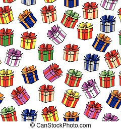 Multicolor gift pattern seamless