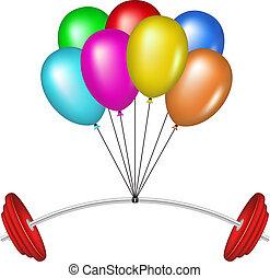 multicolor, globos, barra con pesas