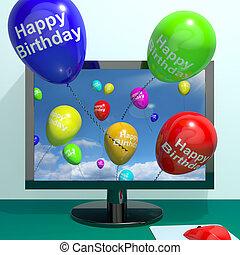 multicolor, globos, saludo, de, computadora, celebrar, feliz...