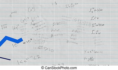Multicolor graphs moving against Mathematical equations on ...