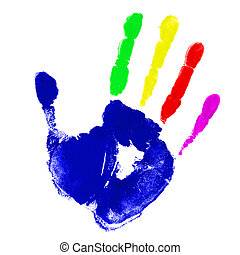 Multicolor hand  - Print of hand with multicolor fingers