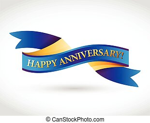 multicolor happy anniversary ribbon