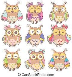 multicolor, hermoso, conjunto, búhos