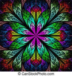multicolor, hermoso, fractal, flower., ordenador generar,...