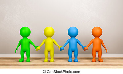 Multicolor Human 3D Characters Holding Hands in the Room