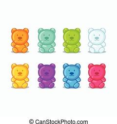 multicolor., icônes, ensemble, gelée, coloré, détaillé, vecteur, illustration, bonbon, gommeux, beau, bears.