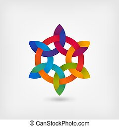 multicolor intertwining abstract symbol in circle