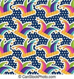 multicolor jester hat bells dots blue background