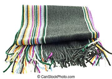 multicolor, lã, listrado, echarpe