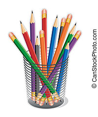 Standard lead pencils with erasers in a desk organizer for home, office, back to school.