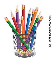Multicolor Lead Pencils - Standard lead pencils with erasers...