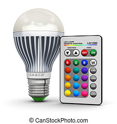 Multicolor LED lamp with wireless remote control