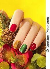 Multicolor manicure. - Multicolor manicure with red, green ...