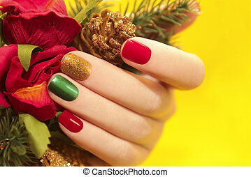 Multicolor manicure. - Multicolor manicure with red,green...
