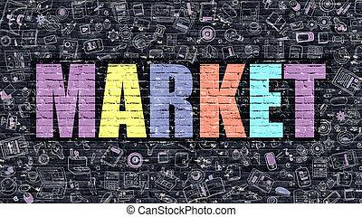 Multicolor Market on Dark Brickwall. Doodle Style.