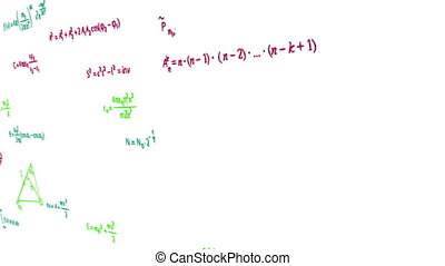 multicolor math physics formulas on white panning. computer...