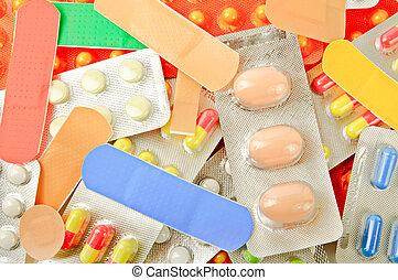 multicolor, medicina, píldoras, plano de fondo