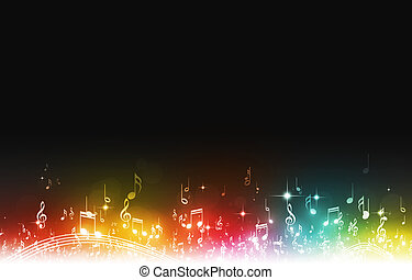 Multicolor Music Notes - abstract music notes on dark...