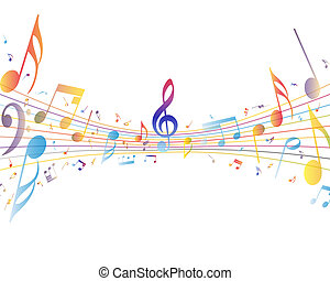 Multicolor musical note staff background. Vector ...