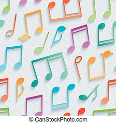 Multicolor musical wallpaper. 3d seamless background. Vector...