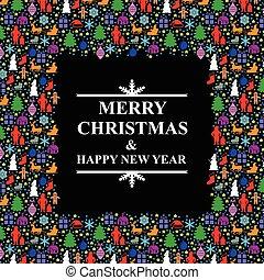 multicolor, navidad, marco, saludo