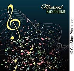 multicolor, note musicali, personale, fondo.