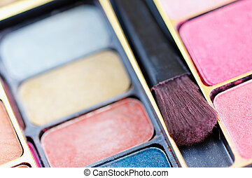 multicolor, ojo, sombras, y, cosméticos, cepillo