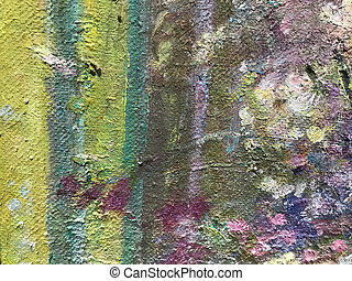 Multicolor painted wall. Bright colors on canvas. Multicolored concrete wallpaper on background