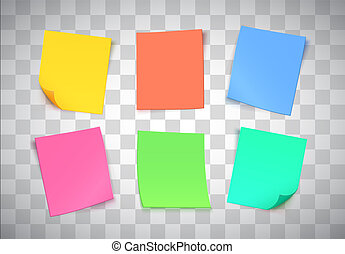 Multicolor paper notes on transparent background. Post it note.