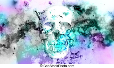 Multicolor particle texture and skulls looping animated CG...