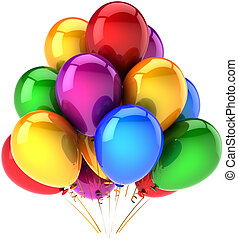 Multicolor party helium balloons
