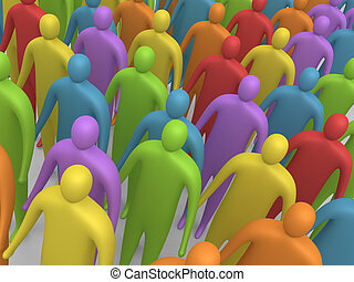 Multicolor People #4 - 3d crowd.