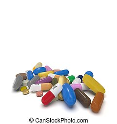 multicolor pills isolated on white background 3d rendering -...