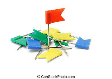 Multicolor plastic flag pins