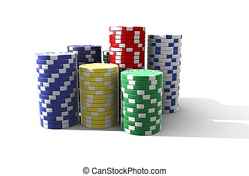 poker chips - multicolor poker chips - 3d render isolated on...