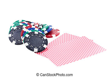 multicolor poker chips and cards isolated