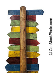 Multicolor pole guidepost with lots of destinations arrows