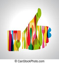 multicolor, polegar cima, cutelaria
