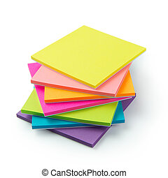 Multicolor post-it sticky note pads - Stack of multicolor...