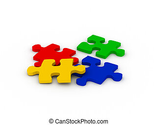 Multicolor puzzle. Red, green, blue and yellow parts...