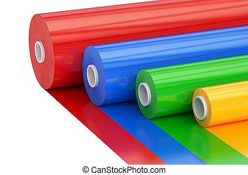 multicolor, pvc, polythene, plástico, fita, rolos, 3d, fazendo