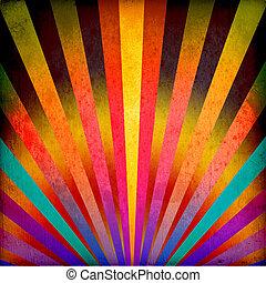 multicolor, raios sol, grunge, fundo