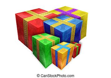multicolor, regalos, de, vario, tamaños, en, un, fondo blanco