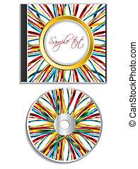 Multicolor ribbon disk and case design on white